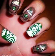 Starbucks nails. ☕ Like if you think there should be a frappe emoji.