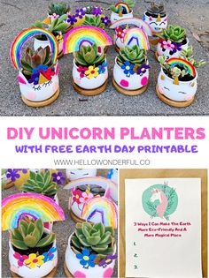 Make these cute DIY Unicorn Planters and get our printable Earth Day unicorn template! Craft Projects For Kids, Craft Activities For Kids, Art Projects, Fun Crafts, Diy And Crafts, Earth Day Activities, Mothers Day Crafts, Felt Flowers, Craft Videos