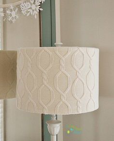 Upcycle an old sweater into a cute winter white lampshade cover. So easy to make! DIY sweater lampshade tutorial