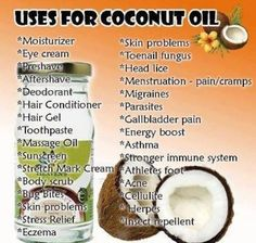 Uses for Coconut Oil..  How often do you use coconut oil in your daily lifestyle? It is also great Make-Up remover too!