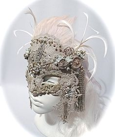 Platinum Deco Masquerade Ball Mask Carnevale by Marcellefinery Venitian Mask, Bugle Beads, Masquerade Ball, Victorian Gothic, Animal Tattoos, Lace Applique, Wattpad, Crystal Beads, Design Art