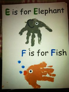 E is for elephant, f is for fish, handprint - calendar page