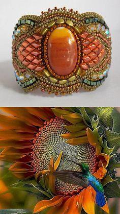 Bracelet Autumn cuff Bead Embroidery Autumn