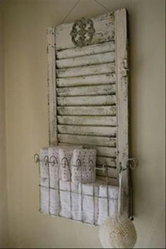 Towel holder made out of old shutter                                                                                                                                                     More