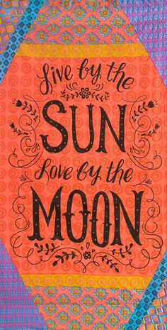 """How cute is this colorful beach towel with the quote, """"Live by the sun, love by the moon""""? So vibrant and fun!"""