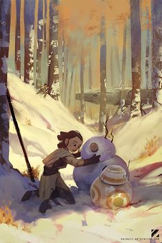Happy holidays everyone! - Rey and BB-8 in Star Wars: The Force Awakens