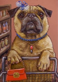 PUG DOG shopping  ACEO print from original oil by Joy Campbell
