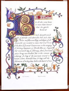 Award scroll for the Estrella War Arts&Sciences Competition in the category of Archery Equipment.  Done by Diane Lynn (Angele Plaisance in the SCA) in 2005