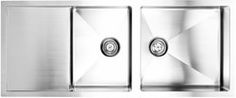 """fluid Model TDR5221 Top Mount Double Bowl with Drain Board Stainless Steel Kitchen Sink.  Overall size:  51.5"""" x 21.9"""" x 8"""""""