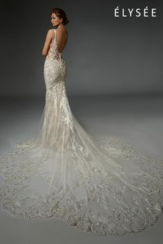 Floral, baroque lace with thousands of hand-embroidered beads and paillettes sparkles over delicate french chantilly lace, curving gracefully around the body to contour and elongate the silhouette. Lace Mermaid Wedding Dress, Sexy Wedding Dresses, Backless Wedding, Lace Wedding, Formal Dresses, Designer Wedding Gowns, Dress Images, Bridal Boutique, Dream Dress