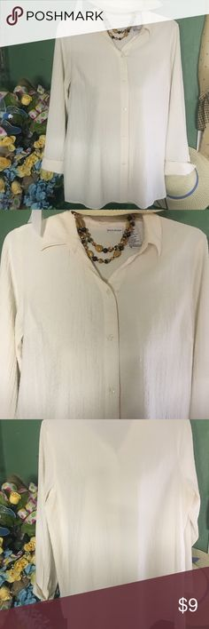 Blouse Very pretty cream colored blouse. Has a lite crinkle texture to it. Perfect color to wear almost any color scarf with. White Stag Tops Blouses