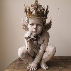 French cherub statue faux painted distressed Nordic cottage angel figure handmade ornate crown home decor anita spero design