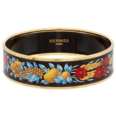 Hermes Hermes Printed Enamel Wide Bangle (416207201) (700 CAD) ❤ liked on Polyvore featuring jewelry, bracelets, multiple colors, hermes jewelry, wide bangle, bangle bracelet, wide bangle bracelet and enamel bangle