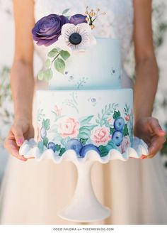 Pretty Painted Wedding Cake