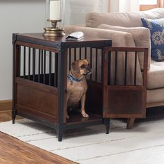 Industrial pet crate end table