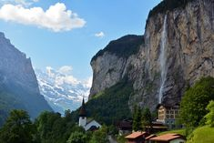 Lauterbrunnen, Switzerland (Jungfrau Region / Bernese Oberland) - The name Lauterbrunnen means 'many fountains', as there are 72 waterfalls in the surrounding valley. The most famous is Staubbach Falls (pictured above), falling close 1,000 feet (300 meters), making it one of the highest waterfalls in all of Europe.