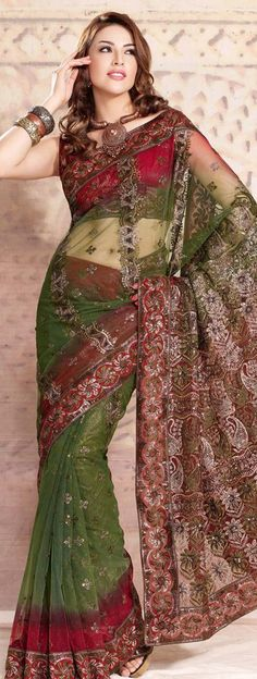 $66.36 Green Net Saree 20826 With Unstitched Blouse