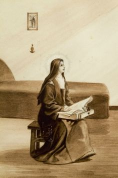 Illustration of St. Therese of Lisieux shows her with small wooden writing case