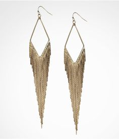 DIAMOND SHAPED METAL FRINGE EARRINGS | Express
