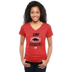 Women's Red Wisconsin Badgers Institution Tri-Blend V-Neck T-Shirt