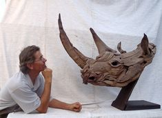 Black Rhino Head sculpture by Tony Fredriksson www.openskywoodart.com