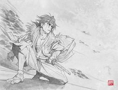 Nanashi, Stanger: Mukou Hadan (Sword of the Stranger), Art by Saito Tsunenori (Character Design and Animation Director, Studio Bones) Drawing Skills, Drawing Poses, Manga Drawing, Manga Art, Manga Anime, Anime Art, Character Poses, Character Art, Sword Of The Stranger