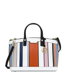GABRIELLE'S AMAZING FANTASY CLOSET   West 57th   White Ground with Multi-Colored Striped Printed Leather Satchel  