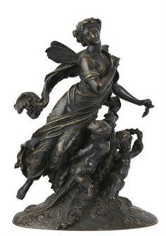 Mathurin Moreau bronze sculpture, France circa 1900.