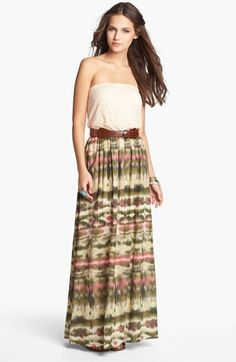 As U Wish Crochet Top Strapless Maxi Dress (Juniors) (Online Only) available at #Nordstrom