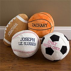 These sports pillows are TOO CUTE! They would be perfect for a sports-themed kids bedroom! You can personalize them, too! Boy Sports Bedroom, Baby Boy Rooms, Kids Bedroom, Bedroom Ideas, Basketball Room, Football Soccer, Baseball, Messi Soccer, Soccer Ball
