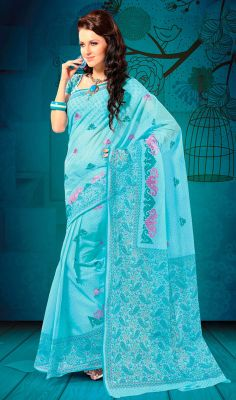 Turquoise Cotton Embroidered Printed Sari Look adorning draped in this turquoise shade cotton sari. Saree is beautifully accentuated with printed and embroidered decorative patterns that gives you a pretty look. Comes with a matching stitched round neck blouse with 6 inches sleeves. #FancySareesOnline #TraditionalCottonSarees