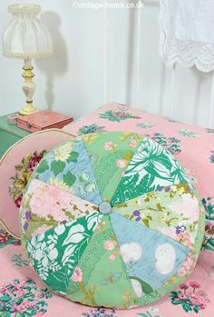 Vintage Home Shop - Pretty Pastel Pinwheel Patchwork Pillow - or Cushion! - on the Guest Bed: www.vintage-home.co.uk