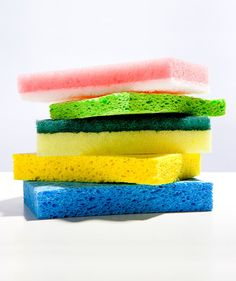Your kitchen sponges can be the filthiest things in your house, housing bacteria and mold. After each use, rinse the sponge in hot water, wring it out, and let air dry in a ventilated soap dish. At the end of the day, toss a wet sponge (a dry one can catch on fire) into the microwave for one minute to sterilize. Get in the habit of switching out sponges every couple of weeks.
