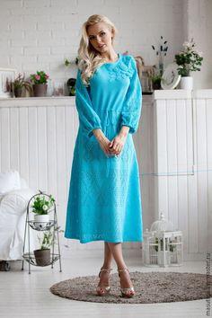 """Купить Платье """"Кудесница леса"""" - бирюзовый, однотонный, вязаное платье, ажурное платье, сшить платье"""