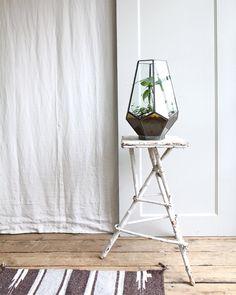 Large Vintage Glass Geometric Terrarium