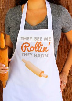They See Me Rollin They Hatin Kitchen Apron by LoveYouALatteShop, $40.00