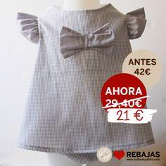Vestido con cubrepañal en vichy gris al 50% en www.nollorespatito.com