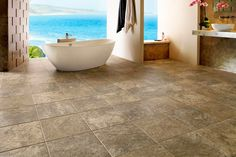 Awesome Interlocking Vinyl Plank Flooring Tile Look And View Non Slip Bathroom Flooring, Bathroom Vinyl, Beige Bathroom, Bathroom Images, Bathroom Floor Tiles, Bathroom Interior, Small Bathroom, Bathroom Plants, Bathroom Ideas