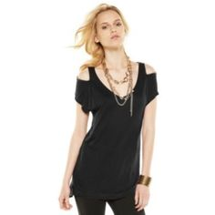 ea17dc447a0a3 Rock  amp  Republic Slubbed Cold-Shoulder Tee Black Cold Shoulder Top