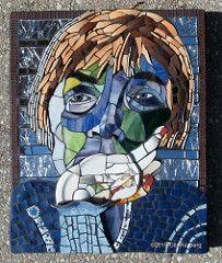 Introspection (Gila Mosaics n'stuff) Tags: portrait art mirror artist hand mosaic gec f2f portraitparty picassiette gilamosaics jkpp piecebypiececityartsfactoryorlando artistgilarayberg