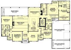 European Style House Plan - 4 Beds 3 Baths 3527 Sq/Ft Plan #430-128 Floor Plan - Main Floor Plan - Houseplans.com