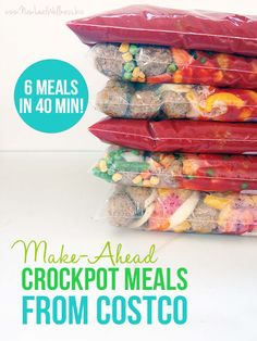 Make-Ahead Crockpot Meals from Costco. I made these and they're healthy and delicious! So easy to make and perfect for busy week nights.