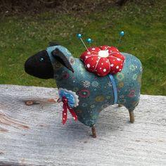 Folk Art Sheep Pincushion Collectible OOAK Ewe Softie Perennial_Stitches on Ebay