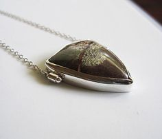 mushroom agate in sterling silver necklace