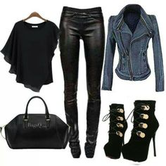 Denim Jacket with Black Leather Leggings & Black Accessories