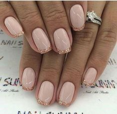 Pink And Gold Nail Designs Idea Pink And Gold Nail Designs. Here is Pink And Gold Nail Designs Idea for you. Pink And Gold Nail Designs rose gold nail designs. Pink And Gold Nail Designs New French Manicure, French Manicure Designs, French Tip Nails, French Manicures, Glitter French Manicure, French Pedicure, Nail French, Glittery Acrylic Nails, Colorful Nails