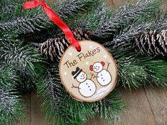 Snowman Wood Burned Birch Slice Christmas Ornament Hand Burned