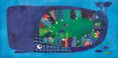 """Ilustración de Jacqueline Molnár para el poema de Alex Nogués """"El vientre de la ballena"""" incluido en el libro """"Pequeño buzo somnoliento"""" www.porkepik.net"""