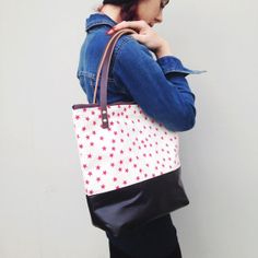 LIMITED EDITION Pink Stars Leather Bottom Zipper Tote by annajoyce, $142.00