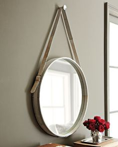 Upcycled/DIY Captain's mirror using old belts...